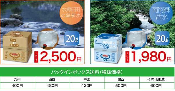 水郷日田の温泉水・20ℓ・1パック2,500円/南阿蘇活水・20ℓ・1パック1,980円 バックインボックス送料料金表